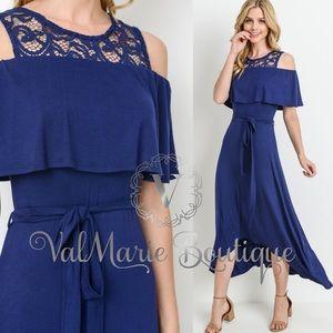 Navy and lace midi maxi dress